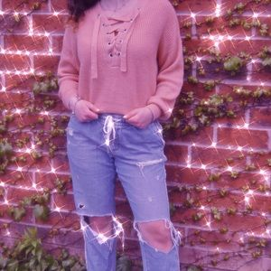 Cozy H&M Coral Lace-Up Front Sweater